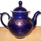 Кобальт с позолотой, чайник, ваза,блюдца,ЛФЗ