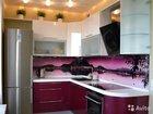 Стеклянный фартук для угловой кухни фп 19 11