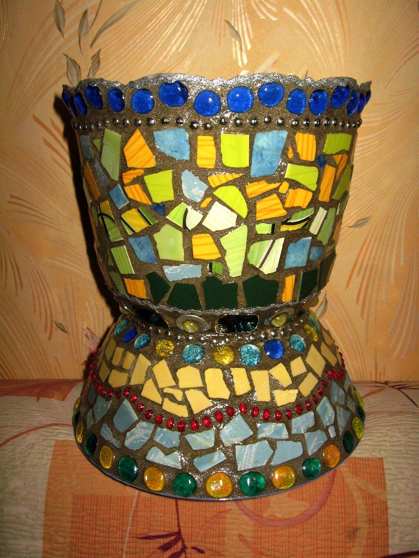 Кашпо с мозаикой своими руками 78