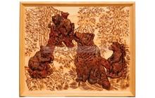 Эко сувениры из кедропласта, Панно Медведи