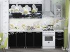 Кухня Орхидея белая/черное дерево 2 м лдсп лак