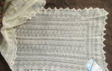 Оренбургский пуховый шарф белый, фабричный