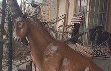 Горный козел (Ибекс) из металла,скульптура