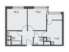 Продаются 2-комн. апартаменты площадью 57.2 кв.м на 9 этаже