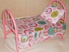 Скачать фотографию  Кроватка для кукол металлическая с подушкой и одеялом 78849839 в Москве