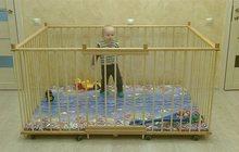 Манеж детский отечественный деревянный 1, 3х1, 8м с высокими стенками 80см