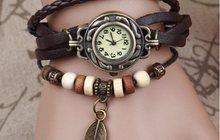 Винтажные часы Лист Магнолии, коричневый ремешок