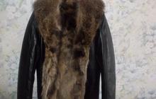Куртка кожаная с мехом волка Италия
