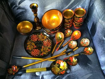 Скачать бесплатно изображение Антиквариат Хохлома 19 предметов 32353523 в Москве
