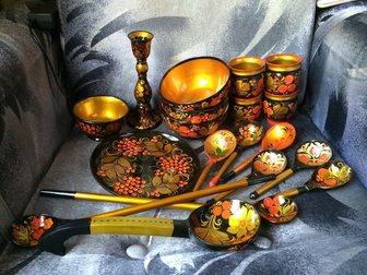 Смотреть изображение Антиквариат Хохлома 19 предметов 32353523 в Москве