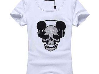 Новое foto Женская одежда Футболка Philipp Plein Skull Headphones 33055652 в Москве
