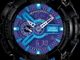 Просмотреть foto Часы Часы G-shock 110RG, черно-голубые 34753513 в Москве