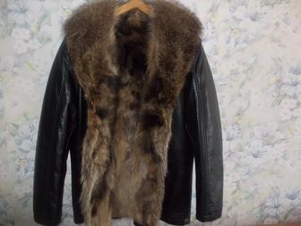 Просмотреть фотографию  Куртка кожаная с мехом волка Италия 38003985 в Москве