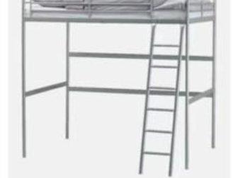 Продам кровать Икеа, б/у, состояние хорошее, с матрацем! Полноценная двуспальная кровать чердак, Самовывоз, самовынос, в Новосибирске