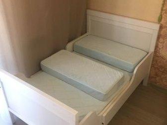 Кровать раздвижная, три положения длины: 1300мм, 1600мм и 2000мм, ширина 800мм, Кровать продаётся с пружинным матрасом, пружины независимые карманного типа, матрас в Новосибирске