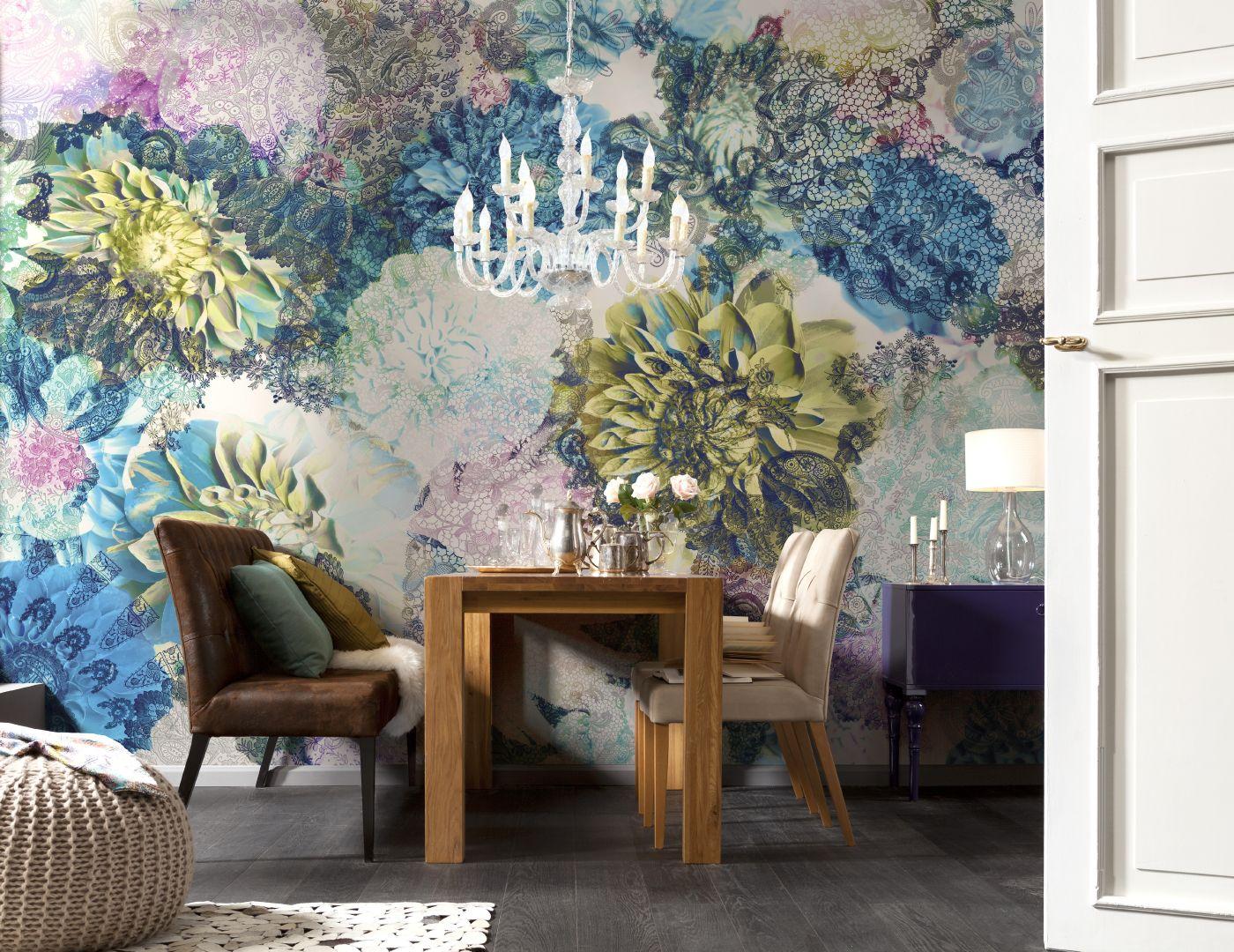 Фреска на стены кухня цветы