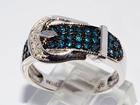Свежее фото  Серебряное кольцо с голубыми бриллиантами 38005951 в Санкт-Петербурге