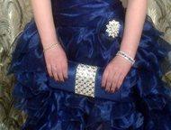 Выпускное- вечернее платье Выпускное-вечернее платье синего цвета с декольте оде