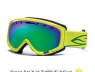 Очки горнолыжные Smith Phenom оправа Lime / линзы Green Sol-X mirror Очки горнол