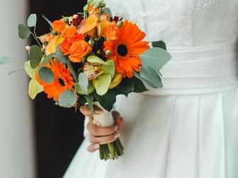 Уникальное фотографию Свадебные платья Атласное платье c длинным рукавом 37198533 в Тамбове