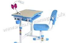 Растущая парта и стул Piccolino blue лампа