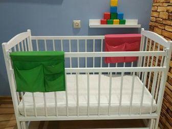 Детская кровать с поперечным маятником, три положения по высоте,  Матрас двусторонний: кокос и латекс, без ньюансов (состояние нового, использовался наматрасник, в Волхове